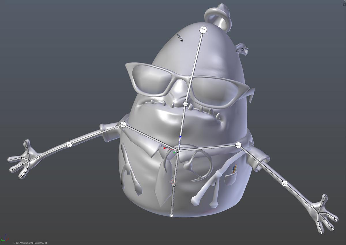 Blender でリギングを施したローポリのモンスター