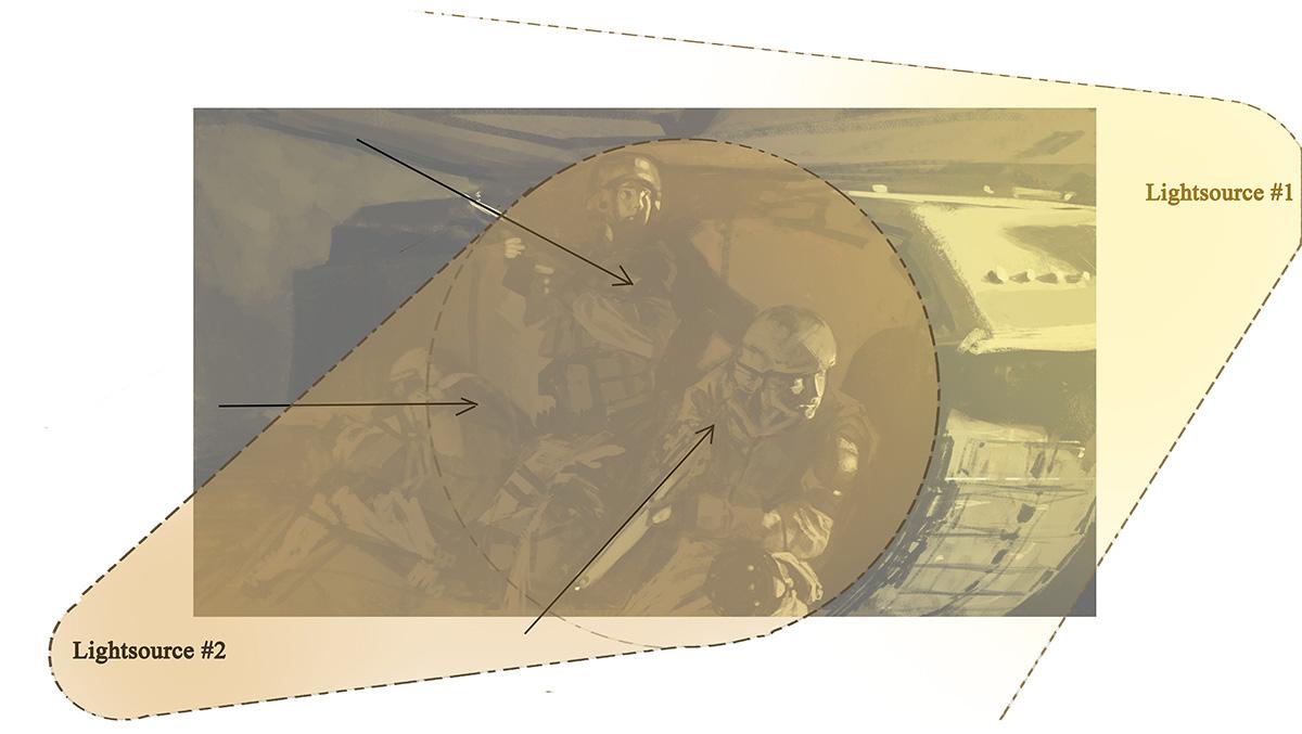 図04:2つめの光源を左から当て、2人の姿が浮かび上がるようにしました