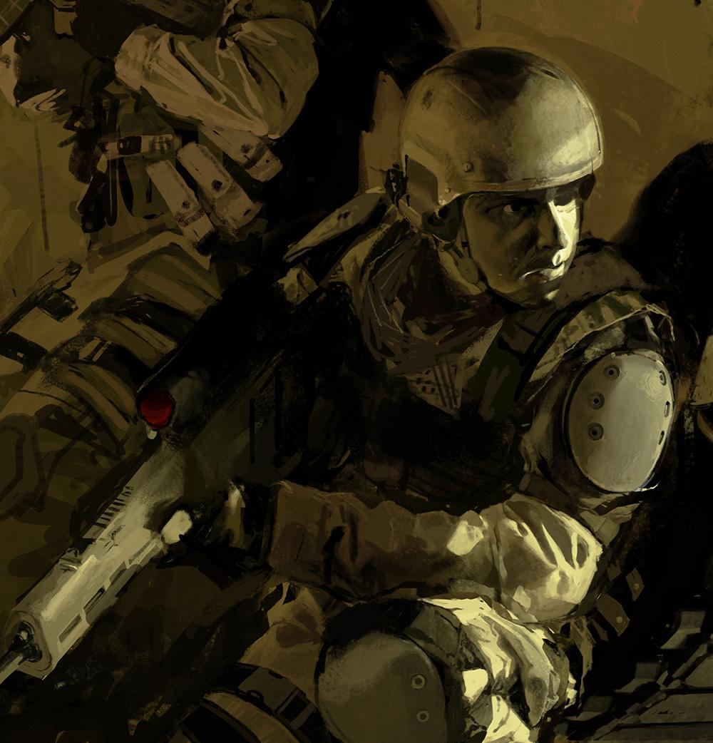 図06:当初は、一番手前の兵士はもう少し身を乗り出す感じで、顔に防具はつけていませんでした
