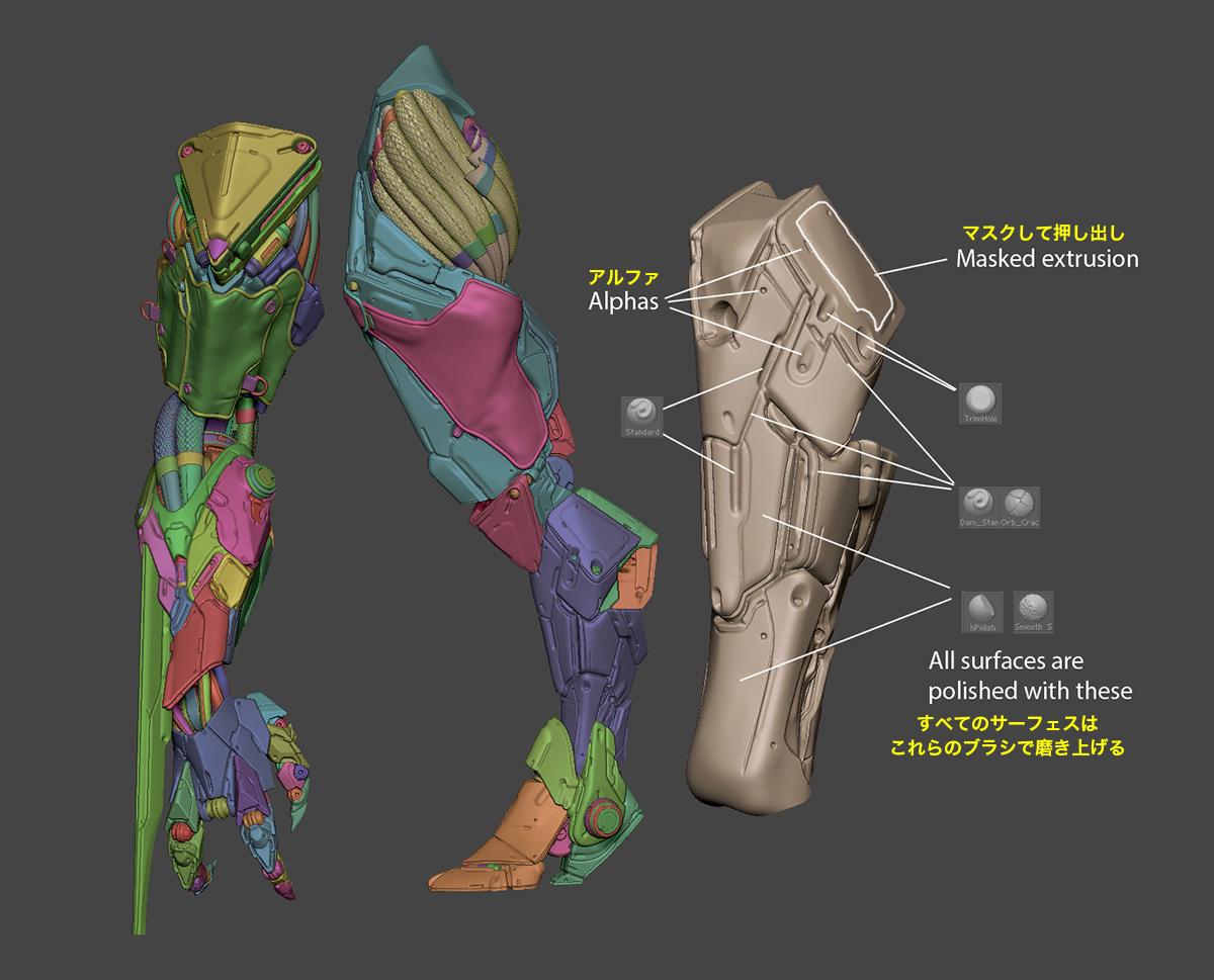 図02b:脛骨は大まかに作成・洗練した部位です